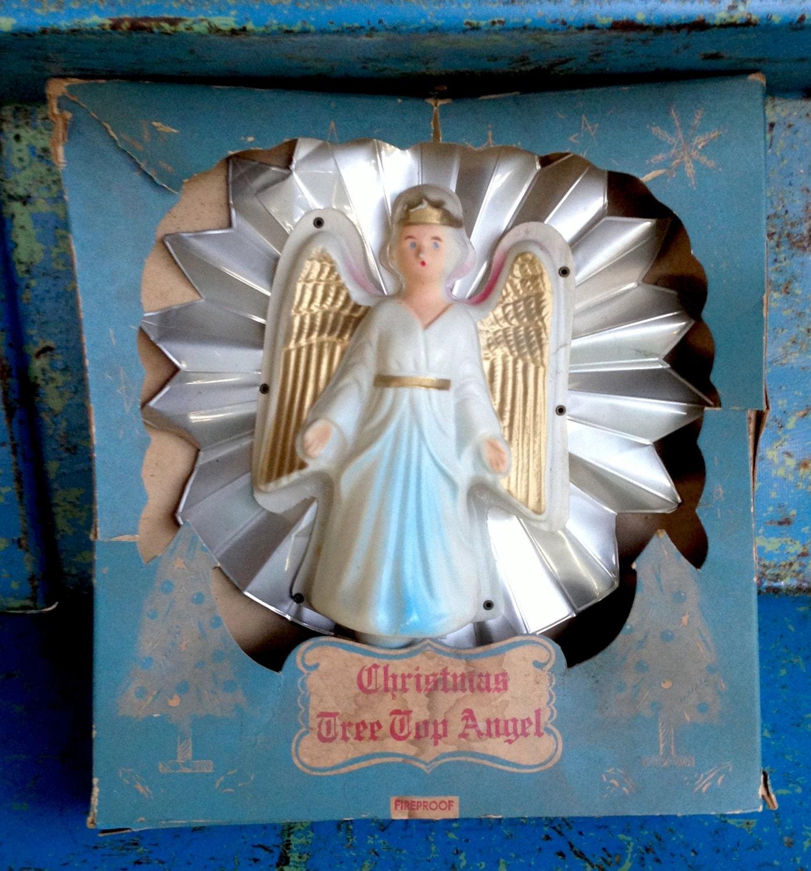 Christmas Tree Top Angel Foil Star Reflector Vintage Original