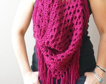 Crochet Pattern / Jerez Scarf PDF / Instant Download Pattern / Fringe Boho Scarf Pattern / Beginner-Intermediate Crochet Pattern