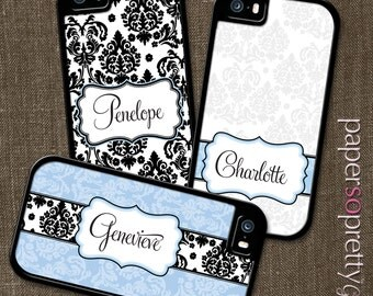Custom Name Phone Case, Personalized iPhone 6s Case, 6 Plus, 5C, 5S, SE Case, Personalized Galaxy S6, S7, S5 Cell Phone Cover, Damask 162