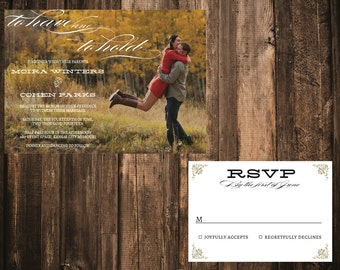 Rustic Personalized Custom Photo Wedding Invitation // DIY printable or printed sets // to have and to hold
