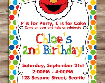ELMO Birthday Invite, Elmo Birthday Invitation, Sesame Street Invitation, Sesame Street, Elmo Invite,  Digital Printable, JPG File