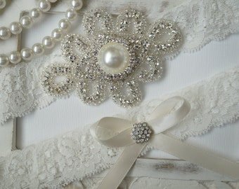 Wedding Garter Set, Bridal Garter Set, Vintage Wedding, Ivory Lace Garter, Crystal Garter Set, Something Blue-Style 300