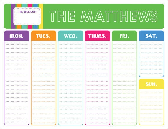 Weekly Calendar Pad : Colors of the rainbow weekly calendar pad