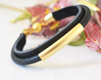Leather bracelet with gold tube. Gift idea. Gift for women.