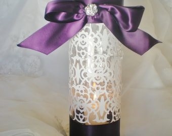 "Purple 10"" tall wedding centerpiece, candle included, custom COLORS AVAILABLE"