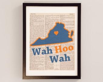 Vintage University of Virginia Print - Virginia Art - Print on Vintage Dictionary Paper - I Heart Charlottesville - UVA Print - Wah Hoo Wah