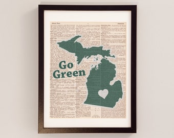 Vintage Michigan State University Print - Michigan Art - Print on Vintage Dictionary Paper - I Heart East Lansing - MSU Print - Spartans