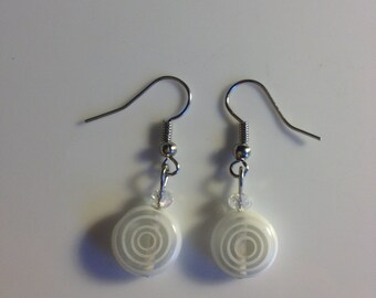 Clear & white glass drop earrings