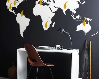 Removable vinyl  World map decal - Large Detailed World map mural  with arrows - WM003