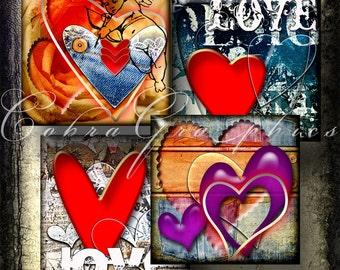 "Printable Digital Downloads - Urban Valentine's - 1""x1"" tiles - Digital Collage Sheet CG-414 for Jewelry Making, Scrapbooking, Crafts"