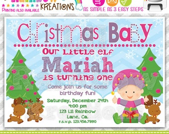 542: DIY - Christmas Baby 4 Party Invitation Or Thank You Card