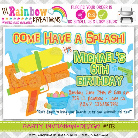 413: DIY Water Gun Fun Party Invitation Or Thank You Card