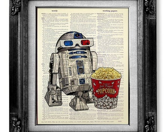 R2D2 Retro STAR WARS Poster Art, Nerd Art, Nerd Poster, Old School Movie Geekery Poster Print on Dictionary Paper - 3D Glasses Robot Popcorn