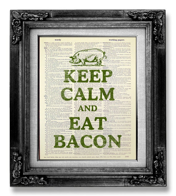 Retro KITCHEN Decor Pig Art Print Kitchen Sign Eat BACON Art