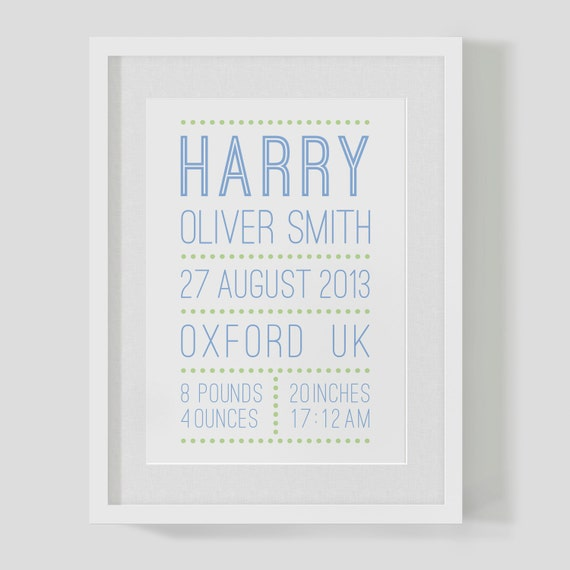 Personalised baby boy name and date birth announcement print – Personalised Birth Announcements