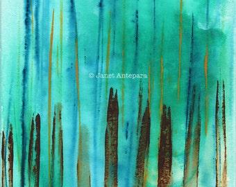 Beach Fence Fine Art Print, Abstract Art, Modern Art, Abstract Painting, Turquoise Art