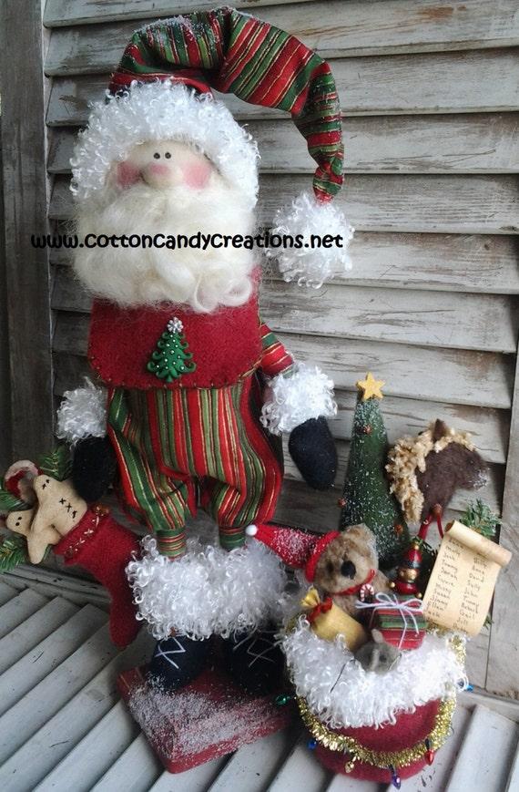 Primitive Pattern - Primitive Christmas Adorable Santa E-Pattern - Primitive Santa Pattern - Prim Santa Pattern - Country Santa Pattern