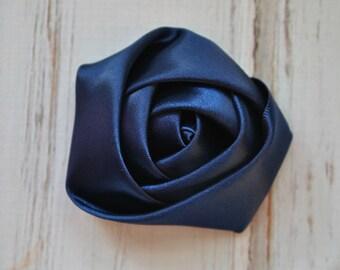 "4pc Navy Blue Satin Rosette - 2"" inch satin rose flowers - satin smooth rosette"