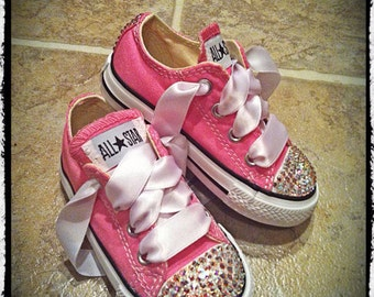 Low top Bling Converse With AB Crystals