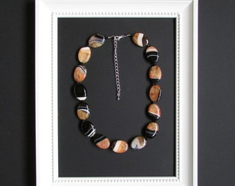 Black & Orange Banded Agate Necklace