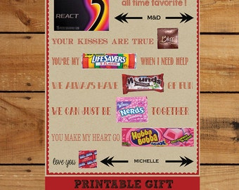 valentine anniversary gift diy print and add candy editable text area to personalize candy poster husband