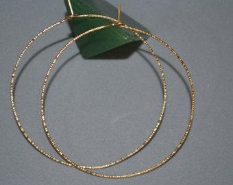 Textured Gold Hoop Earings - Extra Large Hoop Earrings - Thin Hoop Earings - 14k Gold Filled Circle Earrings