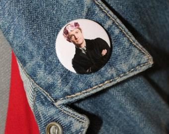 SALE John Watson in a flower crown from Sherlock 32mm pin back badge