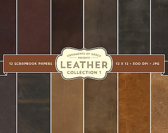 12 Leather Scrapbook Papers - Collection 1 - Digital Download - 300 dpi 12x12 jpg