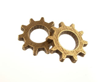 Steampunk Gear Charm, Available in Antique Brass, Other finishes available, QTY: 5 Gears