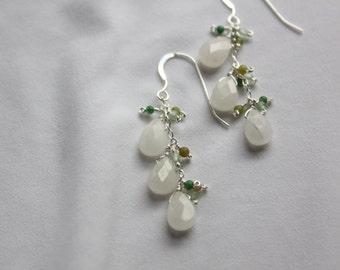 Shades of jade dangly earrings