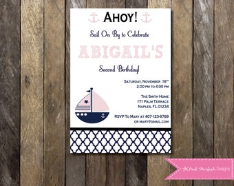 PRINTABLE Nautical Birthday Invitation - 2nd Birthday Invitation - Boys Girls Birthday Party 4x6 or 5x7