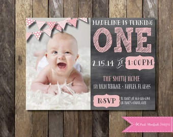 Chalkboard First Birthday Invitation with Picture, Chalkboard Invitation, 1st Birthday Invitation, Printable Invitation, Chalkboard, Invite
