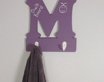 Purple Chalkboard Alphabet Letter Hook // Letter M Hook