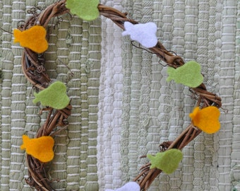 Natural Twine Heart Wreath 15 x 15cm With Felt Pears In White, Yellow And Green.