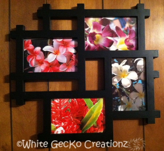 Tropical Flowers, Photo Framed Collage, Ginger, Plumeria, Orchid