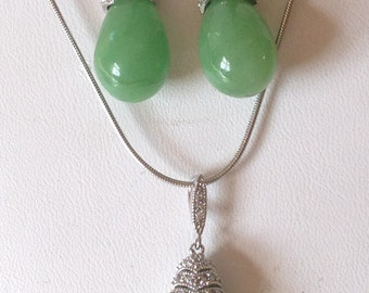 Green Jade Pendant with matching earrings in paved sterling silver