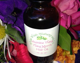 Organic Hair Oil Treatment Jasmine Ylang Ylang Myrrh White Witch Alchemy