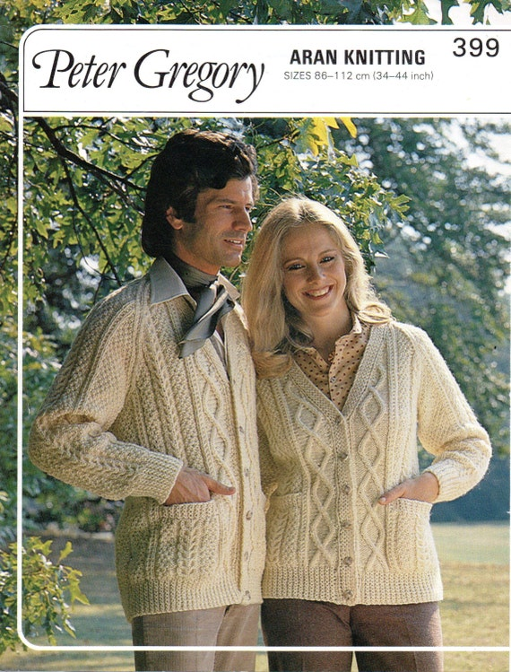 Scarves Knitting Patterns Free : Aran Cardigans for Adults Digital Download A4 by NostalgiaPatterns