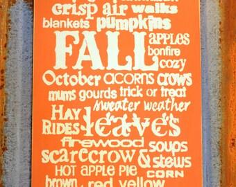 Fall Descriptions Sign - Handmade Wood Sign.
