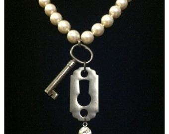 "Vintage 1920's ""Key of Elegance"" Gunmetal & Pearl Flapper Necklace"