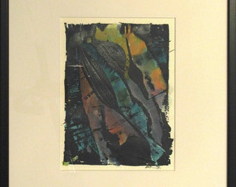 RISE hand painted monoprint