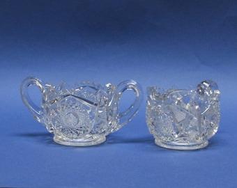 Vintage Crystal Creamer and Sugar Bowl Sawtooth Rim