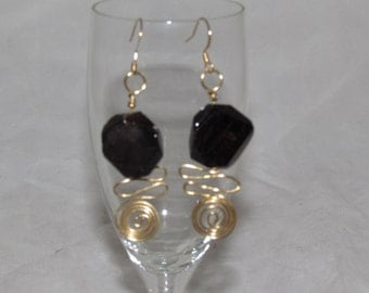 Hand Crafted Wire Wrapped Gold Plated Garnet Chunk Chandelier Earrings