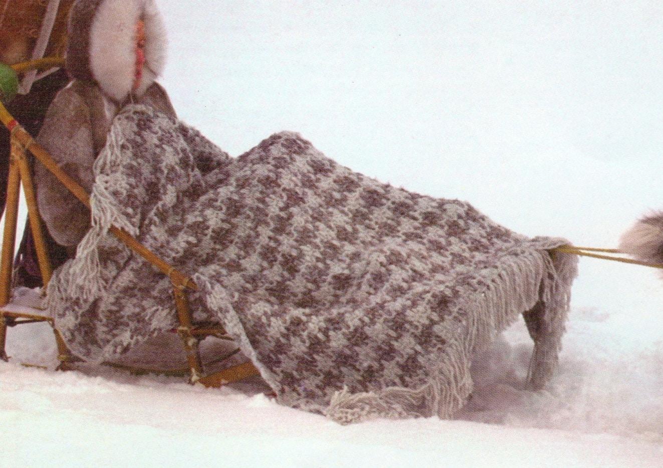 Crochet Afghan Patterns Bulky Yarn : Houndstooth Afghan Vintage Crochet Blanket Pattern chunky