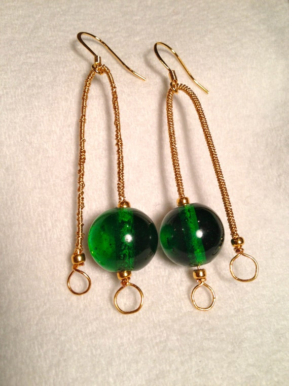 Brass earrings with gold plated seed beads and emerald green glass round bead