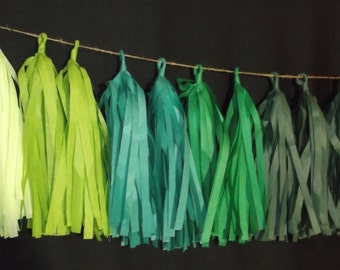 20 Tassel Green Ombre Tissue Paper Garland, Wedding Streamers, Birthday Decoration, Baby Shower Decoration, Fringe Garland, Balloon Tassels