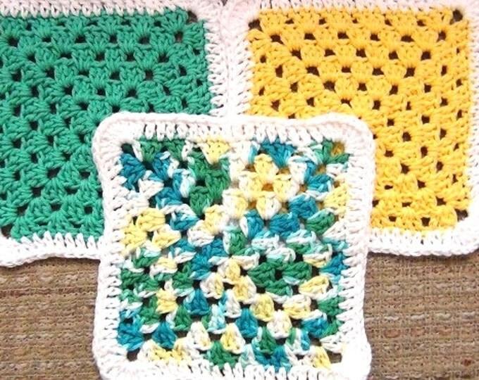 Cotton Crochet Dishcloths - Summer Color Washcloth - Set of 3 - Yellow, Green, Multicolor Face Cloth - Multi Purpose