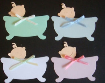 15 Pastel Baby Bath die cuts for baby cardmaking, toppers, scrapbooking or papercraft