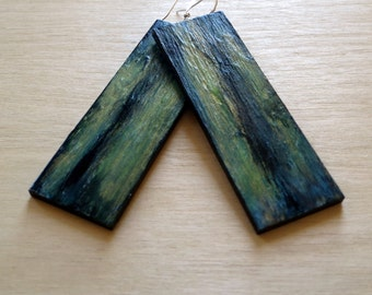 Gold Dark Blue Green Waterfalls Hand-painted Abstract Art Earrings - Long no.7