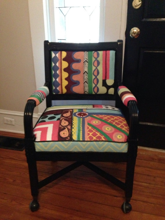 Whimsical Painted Retro Desk Chair